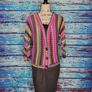 Colorful knit sweater/cardigan for fall/winter